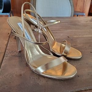 Diane Von Furstenberg DVF Gold Strap Heels Sandals